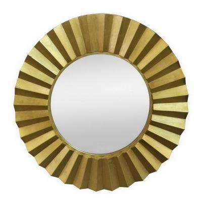 35.75 in. Wood Wall Mirror in Gold