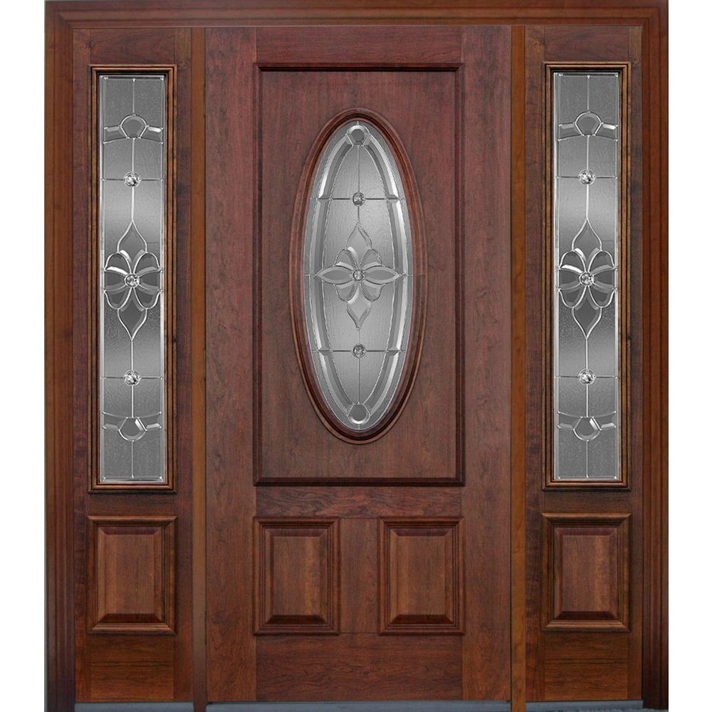Koch Elite Dual Clad Entry 36 in x 80 in w/2-KULS 14 in x 80 in SL Mahogany Prehung Front Door Wesbrook Zinc 4-9/16 in Primed Frame-DISCONTINUED