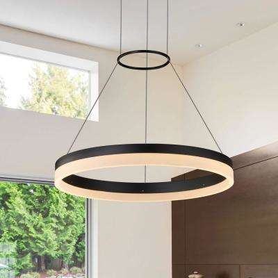 Tania Round 18 in. 30-Watt Black Integrated LED Chandelier