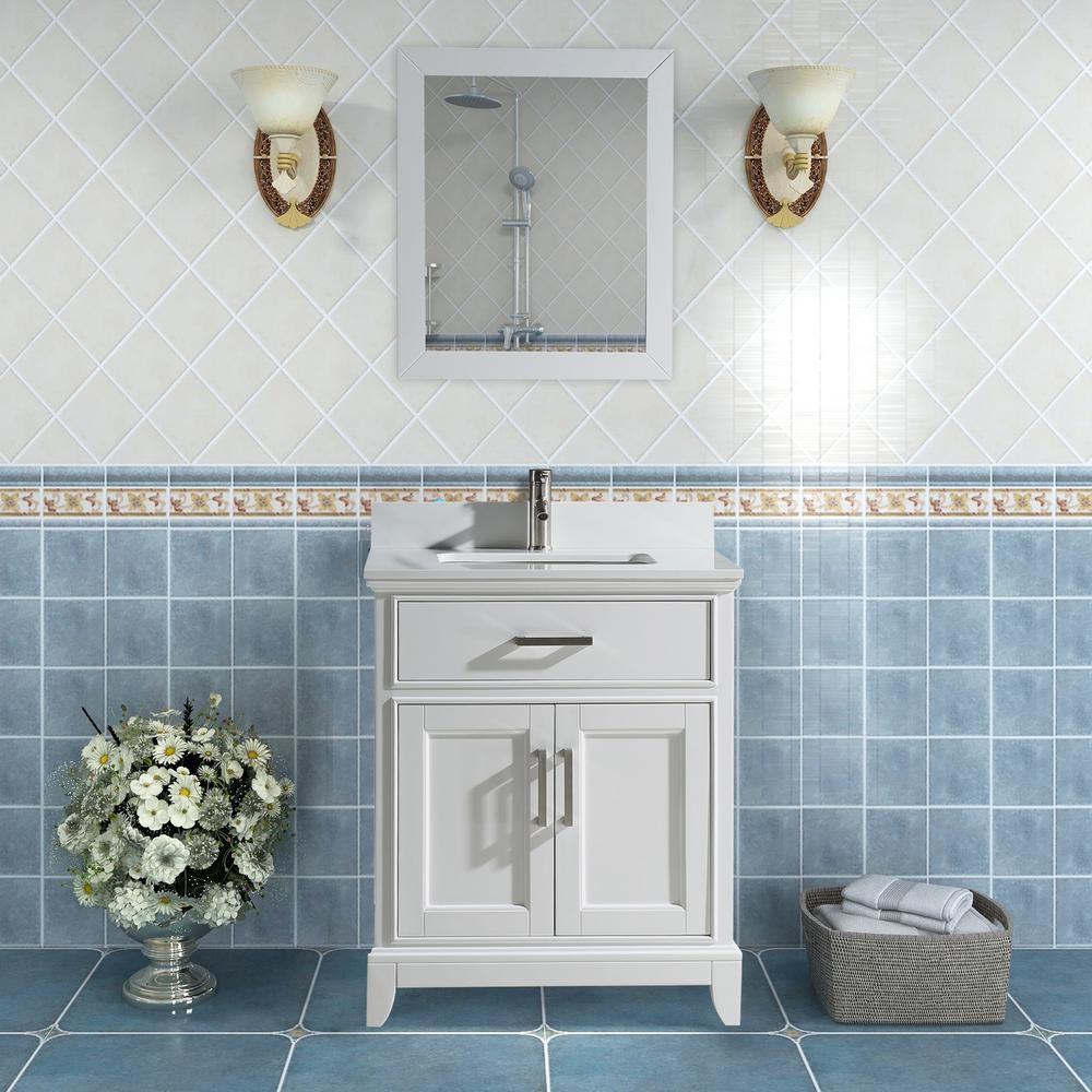 Genoa 24 in. W x 22 in. D x 36 in. H Bath Vanity in White with Vanity Top in White with White Basin and Mirror