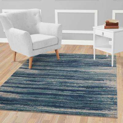 Jasmin Collection Stripes Design Teal and Navy 8 ft. x 10 ft. Area Rug