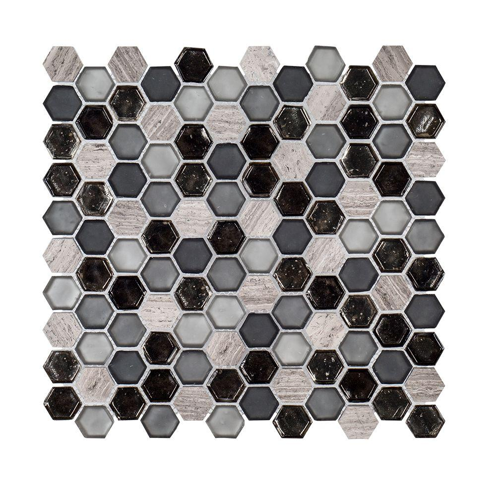 Black Sand 10-7/8 in. x 11-3/8 in. x 6 mm Glass/Limestone