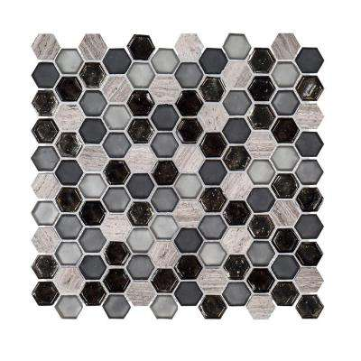 Black Sand 10-7/8 in. x 11-3/8 in. x 6 mm Glass/Limestone Mosaic Tile