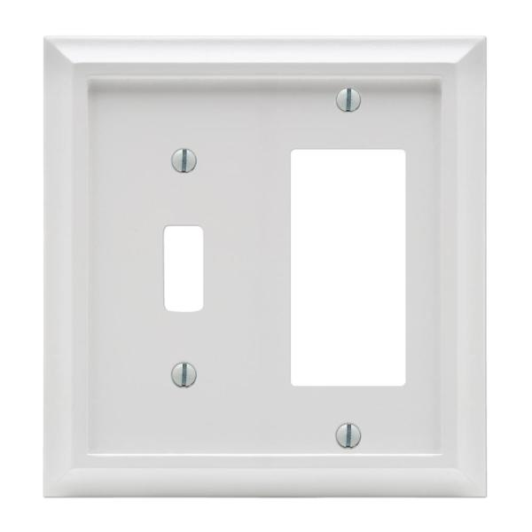Deerfield 2 Gang 1-Toggle and 1-Rocker Composite Wall Plate - White