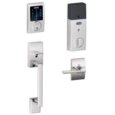 Connect Bright Chrome Century Smart Lock with alarm and Handleset with Latitude Lever