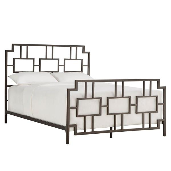 Letti Bronzed Black Queen Bed Frame