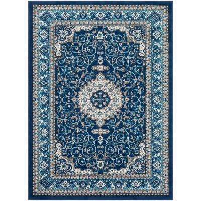 Elias Navy 7 ft. 10 in. x 10 ft. 3 in. Oriental Area Rug