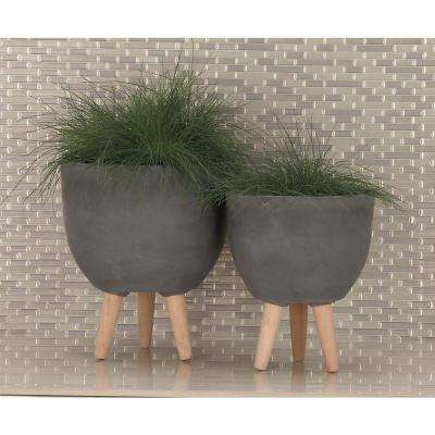 Large: 16 in., Medium: 15 in., Small: 12 in. Black Fiber Wood Planters (3-Pack)