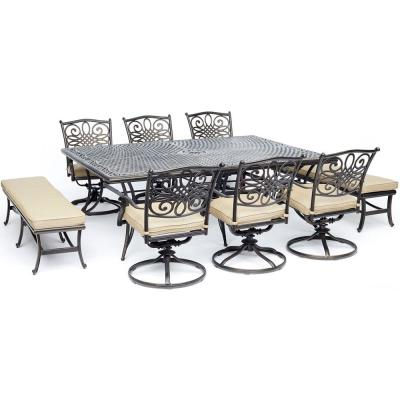 Traditions 9-Piece Aluminum Outdoor Dining Set with Tan Cushions 6-Swivel-Chairs 2-Benches and Cast-Top Dining Table