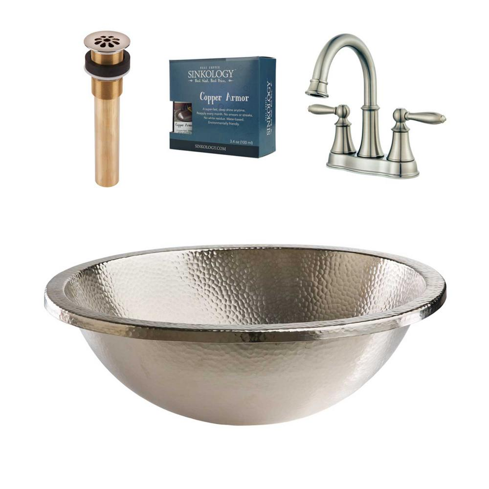 SINKOLOGY Edison All-in-One Undermount or Drop-In Bathroom Design Kit with Pfister Faucet and Drain in Nickel