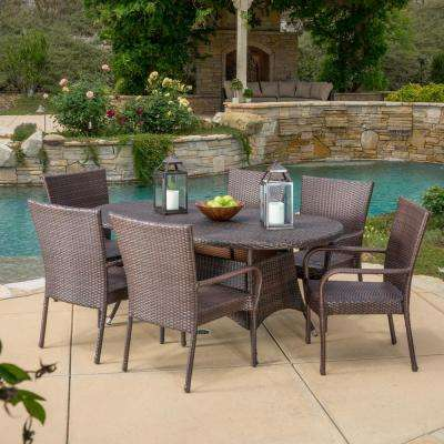 Blakely Multi-Brown 7-Piece Wicker Outdoor Dining Set