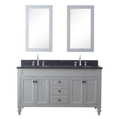 Potenza 60 in. W x 33 in. H Vanity in Earl Grey with Granite Vanity Top in Blue Limestone with White Basin and Mirrors