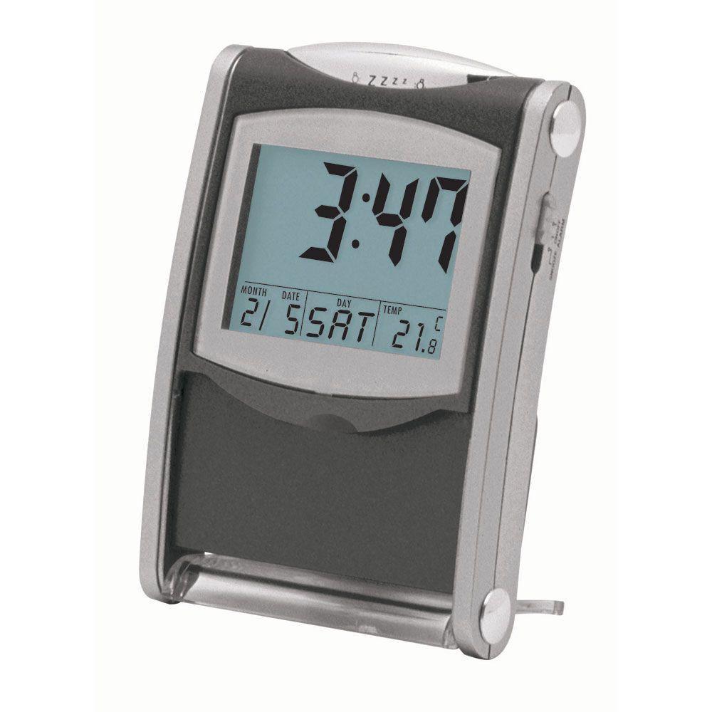 Catherine 3.5 in. x 2.5 in. Grey Desk and Travel Alarm Clock
