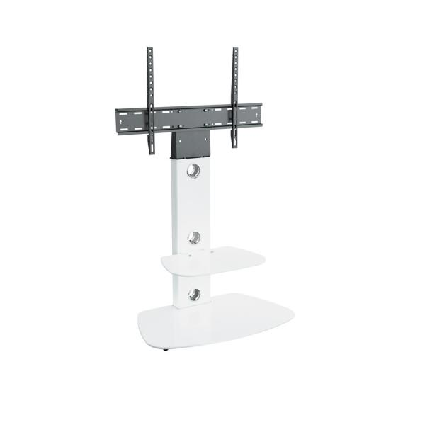 Lucerne 28 in. White Glass Pedestal TV Stand Fits TVs Up to 55 in. with Flat Screen Mount