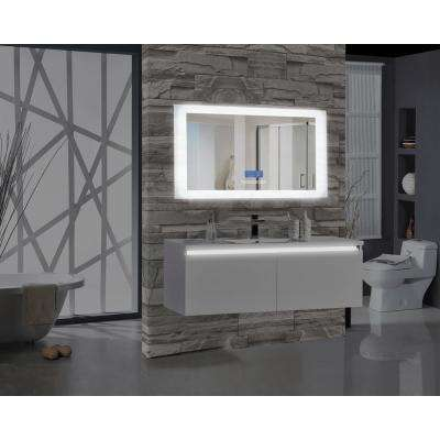 Encore BLU102 60 in. W x 27 in. H Rectangular LED Illuminated Bathroom Mirror with Bluetooth Audio Speakers