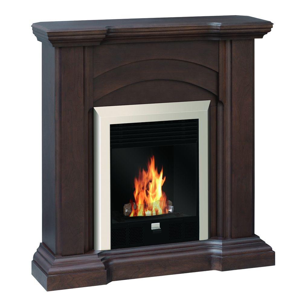 Quality Craft 41 in. Vent-Free Ethanol Fireplace in Dark Chocolate-DISCONTINUED