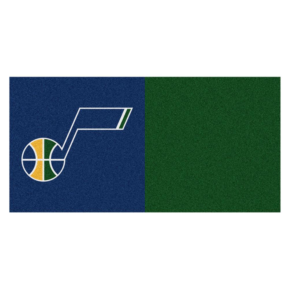 FANMATS NBA Utah Jazz Blue and Green Pattern 18 in. x 18 in. Carpet Tile (20 Tiles/Case)