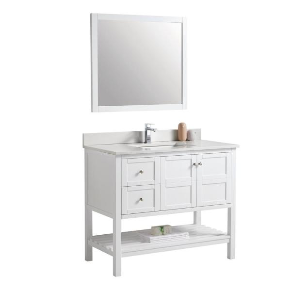 Elegant 34 in. W x 41 in. H x 21 in. D Bath Vanity in White with Carrara Marble Top and Sink