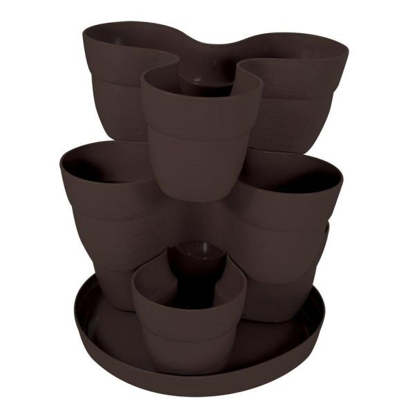 13 in. 3-Tier Resin Flower and Herb Vertical Gardening Planter in Brown