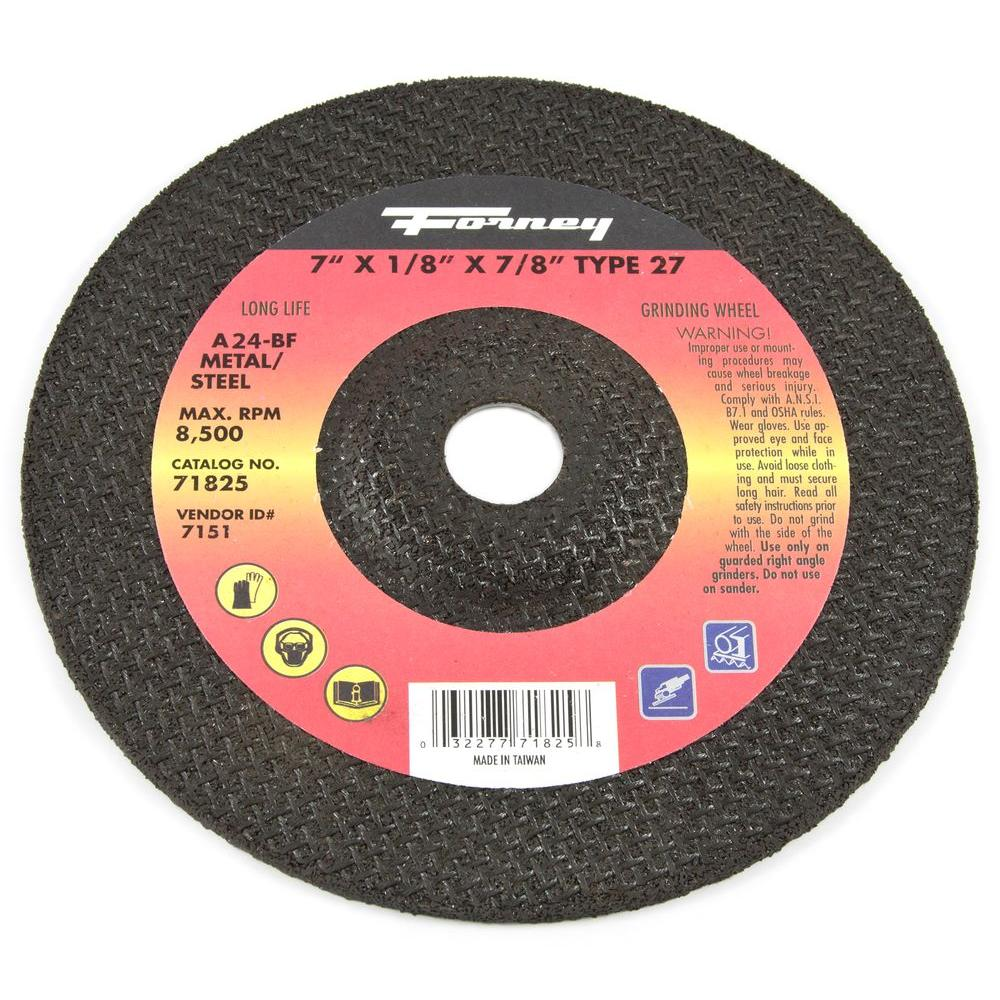 Forney 7 in. x 1/8 in. x 7/8 in. Metal Type 27 Grinding Wheel