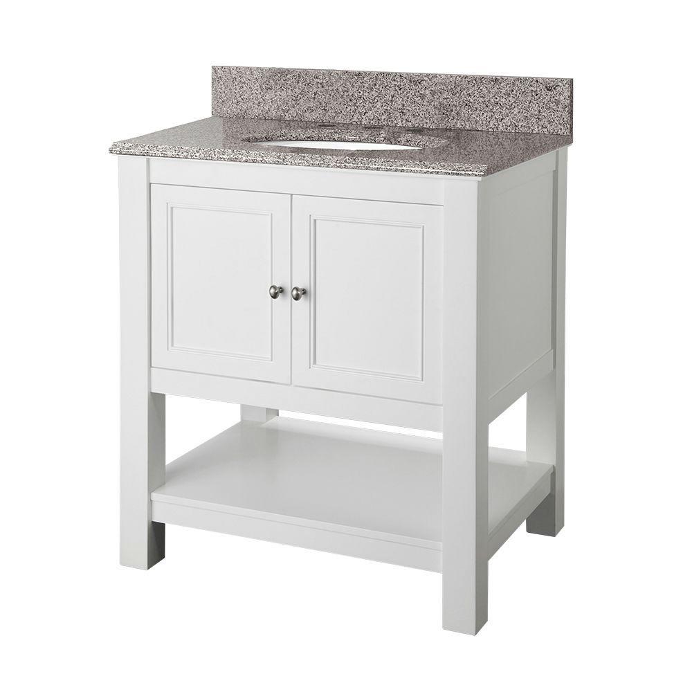 gazette 30 in w x 22 in d bath vanity in white with granite