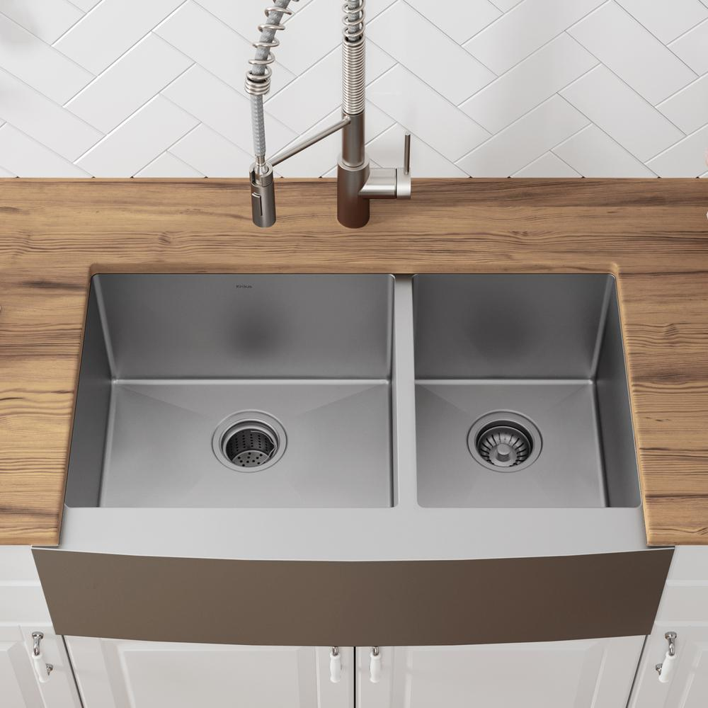 Kraus Standart Pro Farmhouse Apron Front Stainless Steel 36 In Double Bowl Kitchen Sink