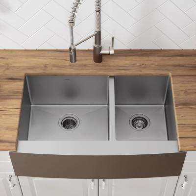 Standart Pro Farmhouse Apron Front Stainless Steel 36 In Double Bowl Kitchen Sink