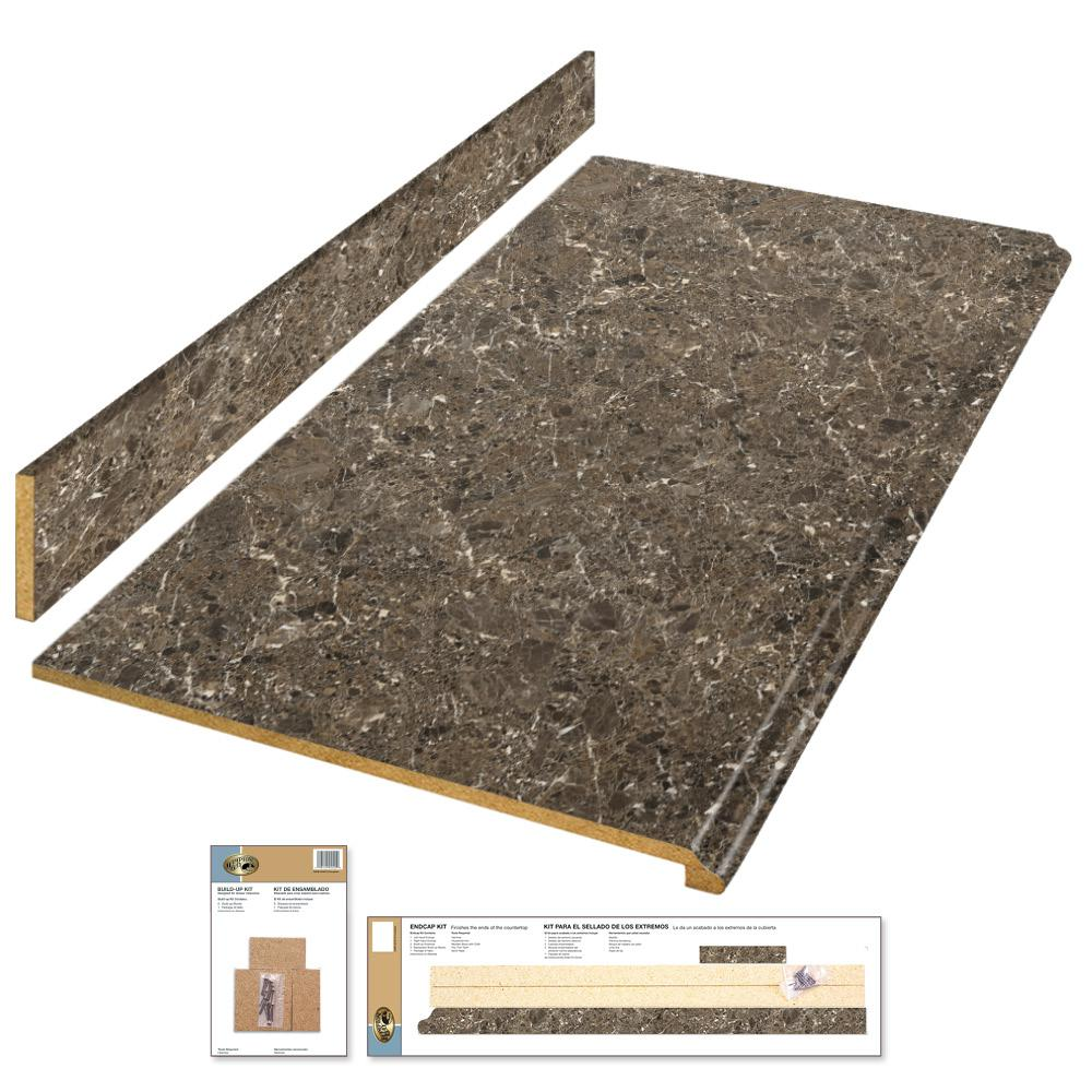 Hampton Bay 4 ft. Laminate Countertop Kit in Breccia Marble with Valencia Edge