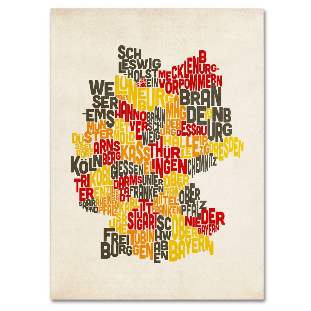 14 in. x 19 in. Germany Region Text Map Canvas Art