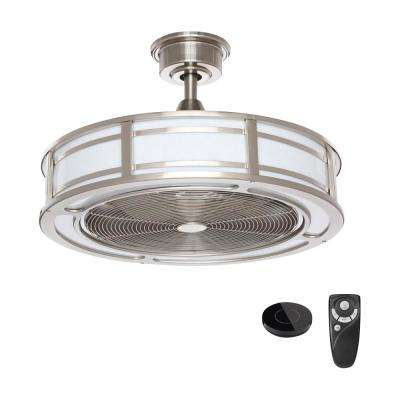 Brette 23 in. LED Indoor Brushed Nickel Ceiling Fan with Light Kit Works with Google Assistant and Alexa