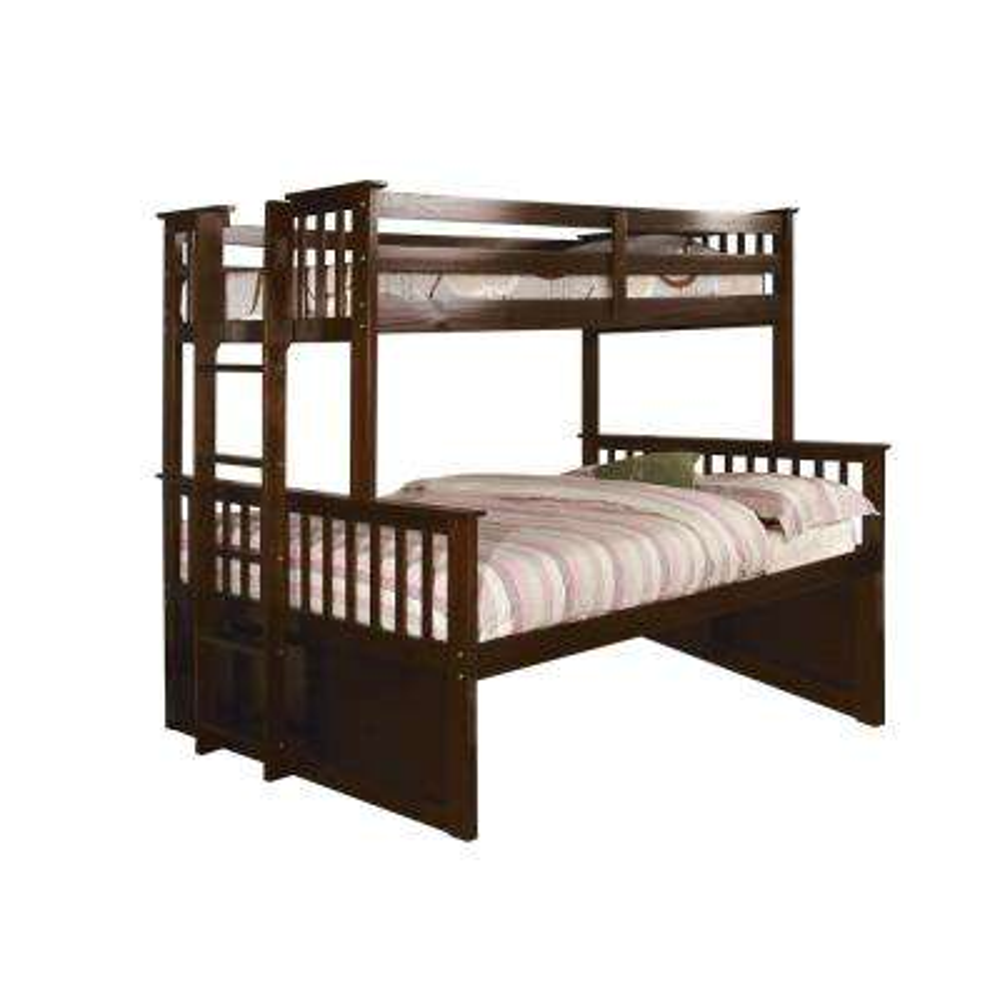 University I Twin and Full Bunk Bed in Dark Walnut