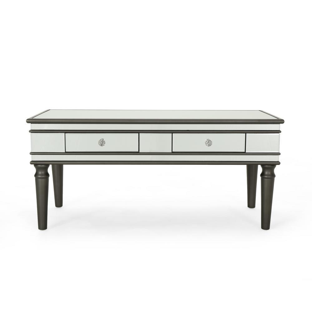 Noble House Preslynn Modern Mirrored 2 Drawer Coffee Table