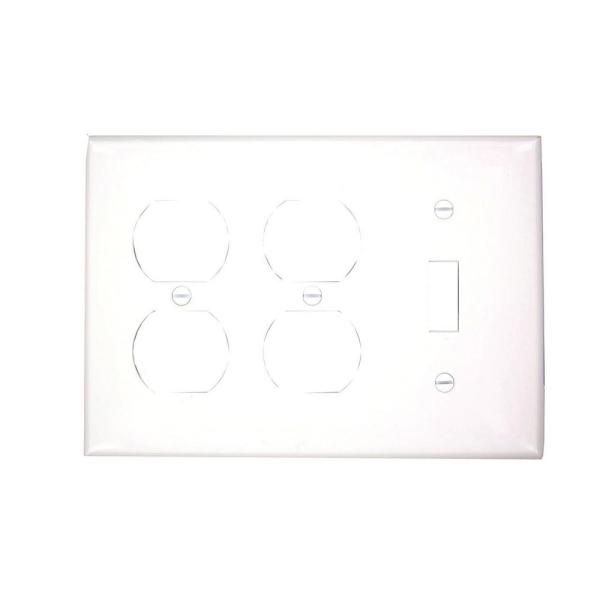 White 3-Gang 1-Toggle/2-Duplex Wall Plate (1-Pack)