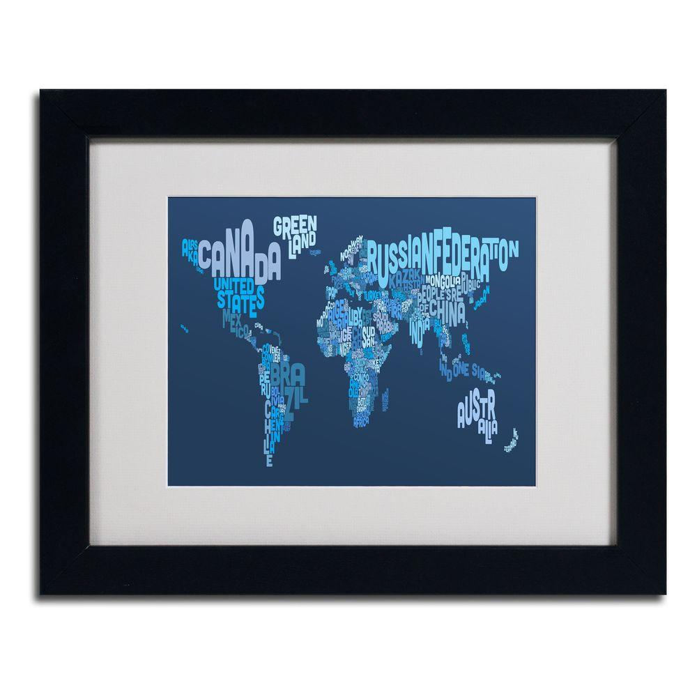 Trademark Fine Art 11 In X 14 World Text Map 2 Matted