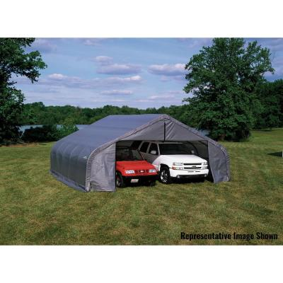 22 ft. W x 20 ft. L x 10 ft. H Double-Wide-Style Garage with High-Grade Steel Frame and Easy-Slide Cross-Rail System