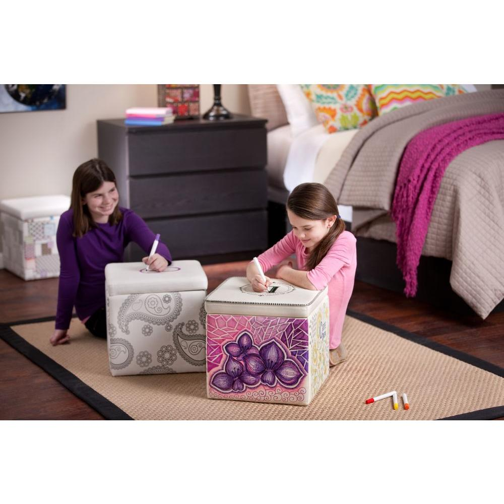 Foremost Draw it Yourself White Storage Ottoman