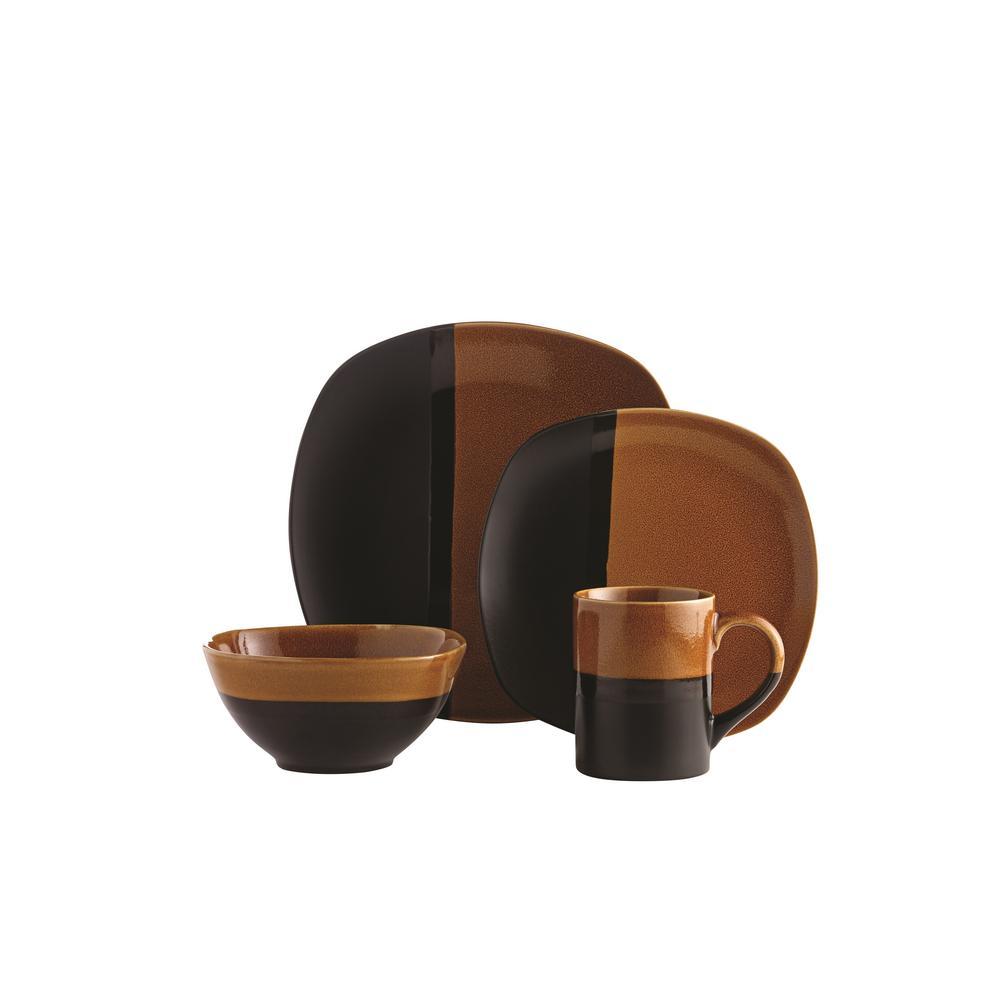 Costa Amber 16-Piece Yellow Dinnerware Set