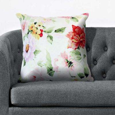 18 in. x 18 in. Bright Floral Beauty Multi Color Throw Pillow