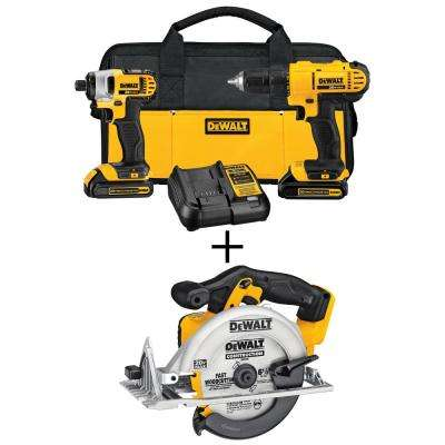 20-Volt MAX Lithium-Ion Cordless Drill/Driver Combo Kit (3-Tool) w/ Circular Saw, (2) 20-Volt Batteries 1.3Ah & Charger