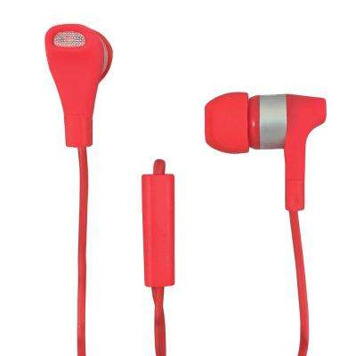 Stereo Earbuds with Microphone in Red