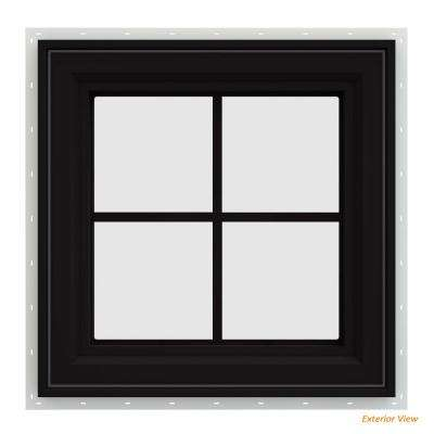 24 in. x 24 in. V-4500 Series Black FiniShield Vinyl Right-Handed Casement Window with Colonial Grids/Grilles
