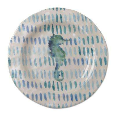 9 in. Melamine Salad Plates in Ocean Blue with Seahorses (Set of 4)