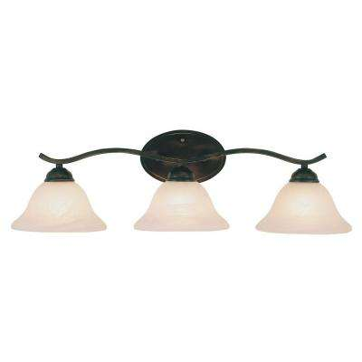 Cabernet Collection 3-Light Brushed Nickel Bath Bar Light with Tea Stained Marbleized Shade