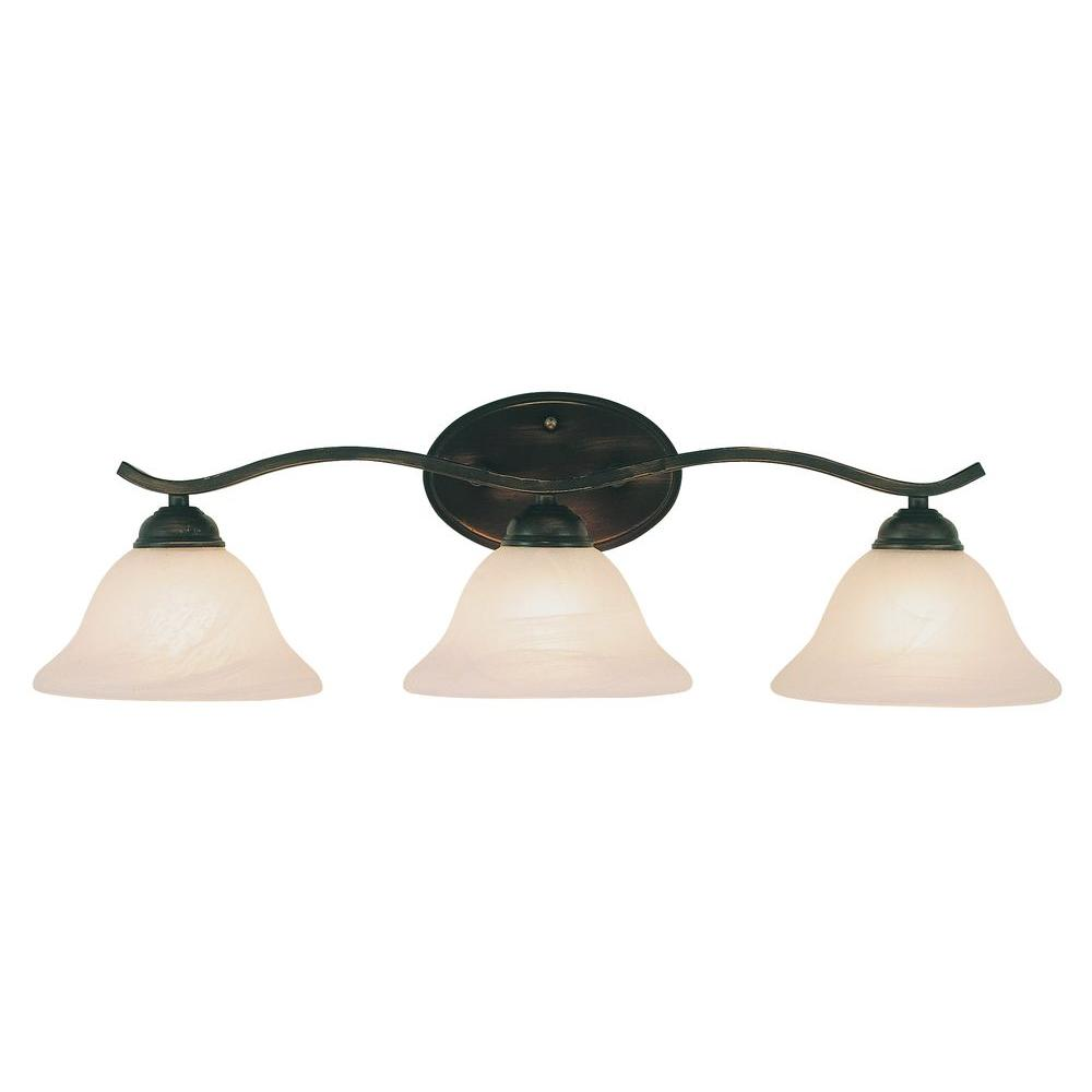 Bel Air Lighting Cabernet Collection 3-Light Oiled Bronze Bath Bar Light with Tea Stained Marbleized Shade
