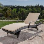Salem Mixed Brown Wicker Outdoor Chaise Lounge with Beige Cushions