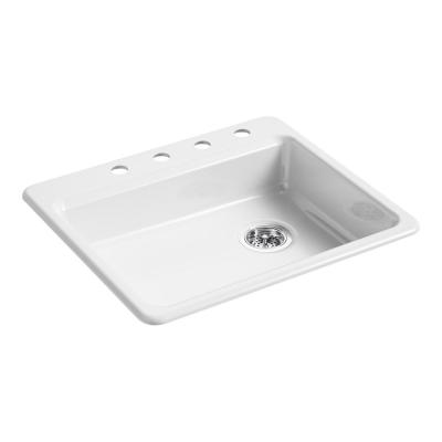 Riverby Drop-In Cast Iron 25 in. 4-Hole Single Basin Kitchen Sink in White