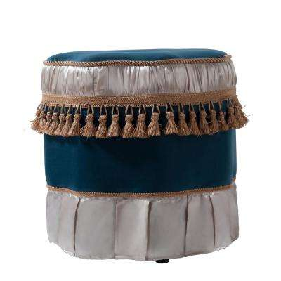 Eleanor Satin Teal Decorative Ottoman