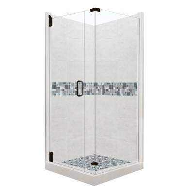 Newport Grand Hinged 42 in. x 42 in. x 80 in. Left-Hand Corner Shower Kit in Natural Buff and Black Pipe