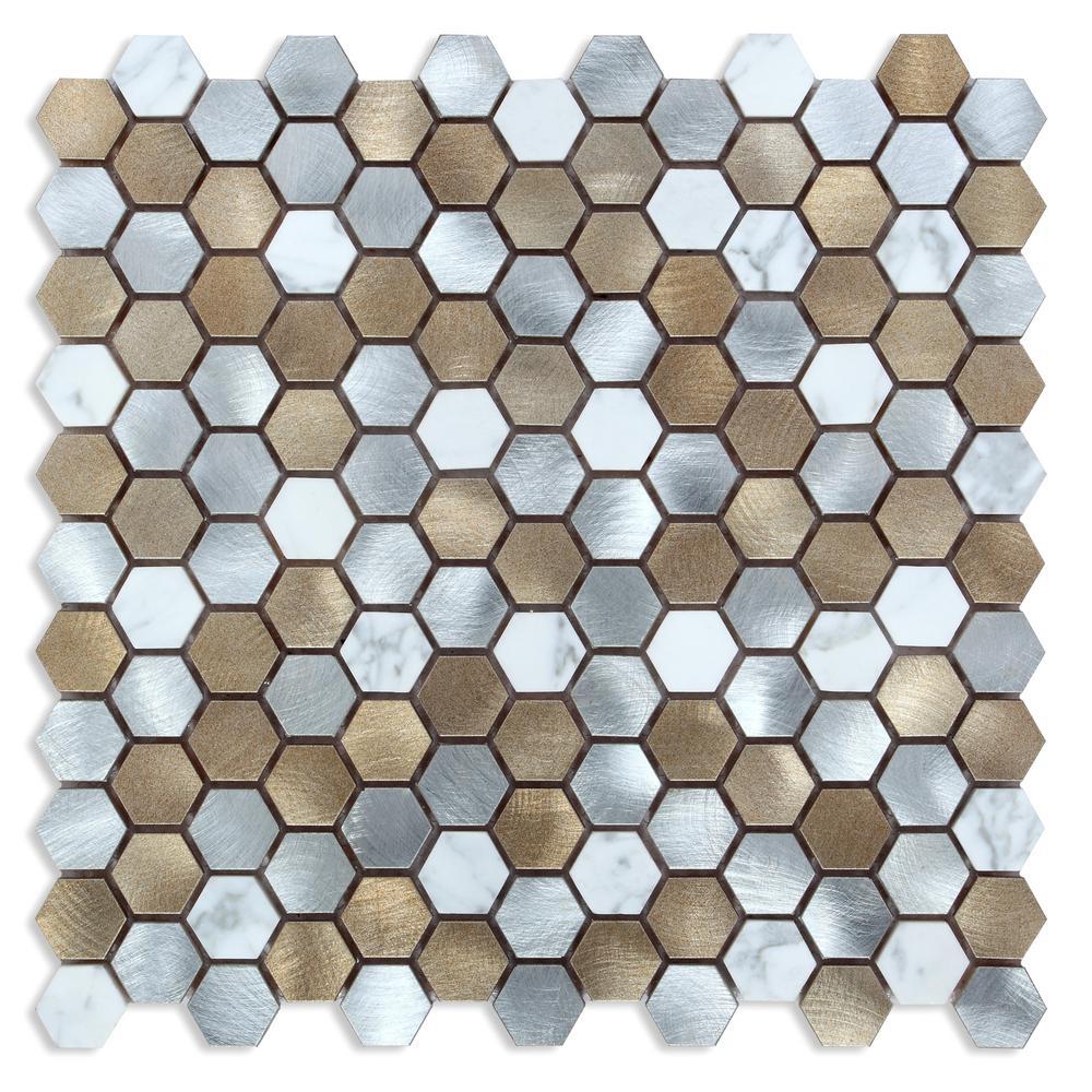 CHENX 12.60 in. x 12.60 in. x 8 mm Aluminum Metal Stone Backsplash Multi Color (12.12 sq. ft. / case)