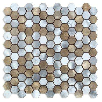 CHENX 12.60 in. x 12.60 in. x 8 mm Aluminum Metal Stone Backsplash Multi Color (12.12 sq. ft. / case)